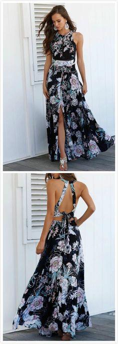 Bohemian Halter Sleeveless Backless Split Floral Printed Maxi Dress