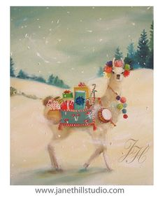 The Northern Christmas Llama Was Elusive But by janethillstudio