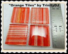 Orange Tiles - Cabochons - Stripes Tiles Tiles, Orange, Unique Jewelry, Handmade Gifts, Crafts, Etsy, Vintage, Products, Room Tiles