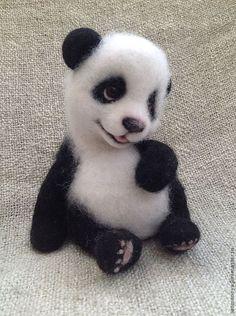 малыш- панда. Panda. Wool Needle Felting, Needle Felted Animals, Felt Animals, Baby Animals, Cute Animals, Panda Love, Panda Bear, Albino Hedgehog, Teddy Bear Toys