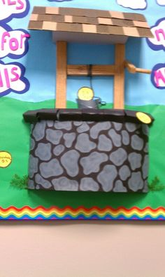 3D wishing well bulletin board, posterboard,wood contact paper,styrofoam and…