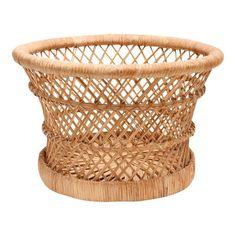 Vintage Boho Chic Bamboo and Wicker Planter Basket Bamboo Planter, Wicker Planter, Bamboo Basket, Wicker Baskets, Planters, Woven Baskets, Basket Weaving, Boho Chic, Decorative Bowls