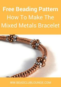 Create the delicate Mixed Metals Bracelet using a combination of seed beads and pearls. This free bracelet pattern teaches Tubular Herringbone Stitch. Beaded Bracelets Tutorial, Beaded Bracelet Patterns, Metal Bracelets, Silver Bracelets, Embroidery Bracelets, Bracelet Designs, Handmade Bracelets, Handmade Jewelry, Peyote Bracelet