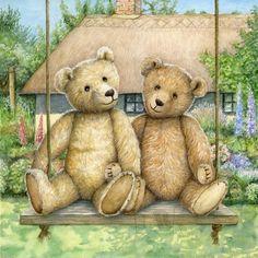 Teddy Bear Hug, Teddy Bear Party, Tatty Teddy, Teddy Bear Images, Teddy Bear Pictures, Illustrations, Illustration Art, Happy Birthday Card Design, Bear Paintings