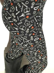 Women School Printed Leggings & Tights | High Waisted | Work Yoga Gym – MomMe and More Skins Leggings, Best Leggings, Tight Leggings, Dresses With Leggings, Mommy And Me Outfits, Cute Outfits, Usa Girls, Thing 1, Yoga Gym