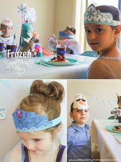 Free Frozen printables for the crown, masks, and snowflakes.