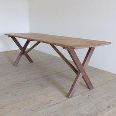 A good early C20th x-frame folding trestle table. England c.1940.