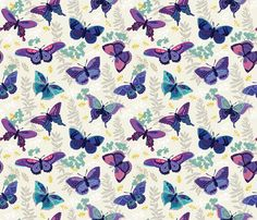 Indigo butterfly by penguinhouse http://www.spoonflower.com/fabric/4476106-indigo-butterfly-by-penguinhouse