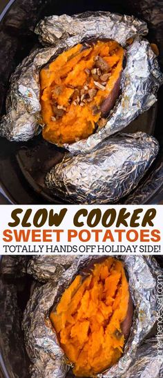 Slow Cooker Sweet Potatoes - Dinner, then Dessert Slow Cooker Baked Sweet Potatoes are a perfect, easy, holiday side dish your guests will love and it only takes a minute of prep work! Potato Recipes Crockpot, Crockpot Veggies, Crockpot Side Dishes, Sweet Potato Recipes, Baby Food Recipes, Thanksgiving Recipes Crockpot, Thanksgiving Food, Crockpot Meals, Crock Pot Sweet Potatoes