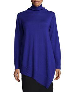 Long-Sleeve Merino Asymmetric Turtleneck Tunic, Women's, Size: 3X (22/24), Moon - Eileen Fisher