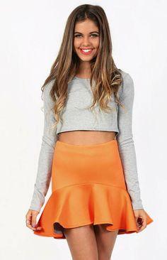 Revolver Orange Scuba Peplum Skirt - $59.00