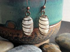 Copper Wire Wrapped White Stone Earrings by AccentsByCat on Etsy