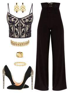 """""""Golden"""" by jstylelife on Polyvore featuring Alexander McQueen, Cerasella Milano, Signature Gold and Elizabeth Cole"""