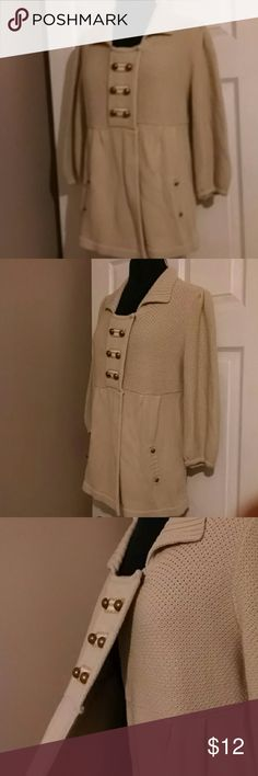 Cream colored nautical button cardigan Cream colored one button cardigan with gold stitching around bronze nautical button details 3/4 sleeve.Very soft and comfortable Style & Co Sweaters Cardigans