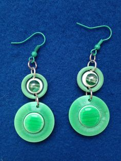 Unique Spring Green Button and Bead Earrings, Fashionable Springtime Green Earrings Made from Buttons, Jewelry Made from Leftover Buttons by CatterflyStudios on Etsy