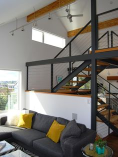 modern cable railing stairs