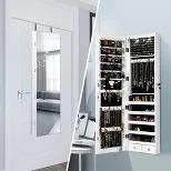 Costway Mirrored Wall Jewelry Cabinet W/ Lights&drawer : Target Mirror Jewellery Cabinet, Jewelry Mirror, Jewelry Armoire, Jewelry Box, Full Length Mirror Cabinet, Full Body Mirror, Cabinet Dimensions, Dim Lighting, Mirrors