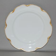 Antique Haviland Limoges France White with Gold Trim Plate, circa 1894 - 1931
