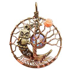 Coral Rose Tree of Life Pendant / Bronze Owl Tree of Life   Etsy
