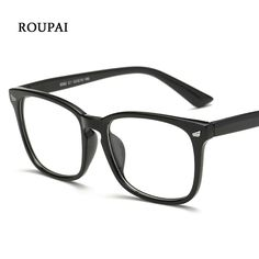 5a7559b31fa2 ROUPAI Eye Glasses Frames For Women Men Transparent Big Square Eyeglass  Frames Unisex Decorative Glasses Eyeglasses Frame 8082-in Eyewear Frames  from Men s ...