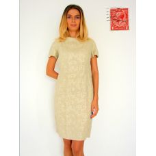 Classy and Sexy Knee Length Cream Dress. The neckline closes with 3 covered buttons opening into a tantalising and sexy open back, which tapers towards the waist, and closes with 4 covered buttons. The cut of this dress is beautiful following the contours of the body, showing just enough femininity. Linen/Cotton type material with fine embroid