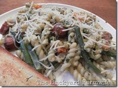 pesto pasta with veggies & sausage - The Backyard Farmwife