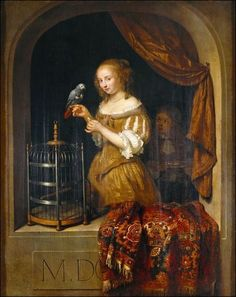 An art historian, and African Grey owner, delved into the avian symbolism in 'Vermeer and the Masters of Genre Painting' at the National Gallery of Art. Johannes Vermeer, Art Gallery, National Gallery Of Art, San Fransisco, Rembrandt, Gabriel Metsu, African Grey Parrot, Dutch Golden Age, Dutch Painters