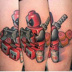 Lego Deadpool tattoo by @jay_blackburn  Thanks Jay! =D  #deadpool #deadpooltattoo #lego #legoism #videogametattoo #marvel #marvellego