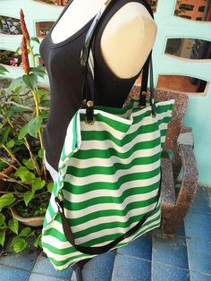 Fashion Cotton Bag  two Style lovely Stripes Green and white  - BK323 on Etsy, $10.00