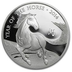 2014 1 oz United Kingdom Silver Lunar Year of the Horse Coin BU [UK-LYOH-1-OZ-SLV-2014] - Aydin Coins & Jewelry, Buy Gold Coins, Silver Coins, Silver Bar, Gold Bullion, Silver Bullion - Aydincoins.com