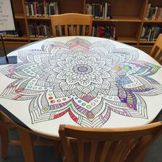 collaborative art The Library Voice: Community Coloring & Creating.It's All The Rage In Libraries, Schools & Homes! School Library Displays, Middle School Libraries, Elementary Library, School Library Design, Library Inspiration, Library Ideas, Teen Library, Future Library, Collaborative Art Projects