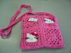 Blog da Bete Artesanatos: Conjunto : Bolsa e Boina em Crochê da Hello Kitty