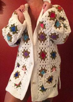 Vtg Crochet Granny Square Jacket Long Cardigan Sweater White Multicolor XL 12-14