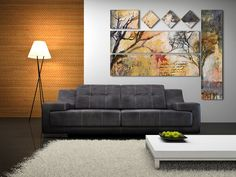 love the canvas on the wall!  different sizes, shapes, orientations in one piece.