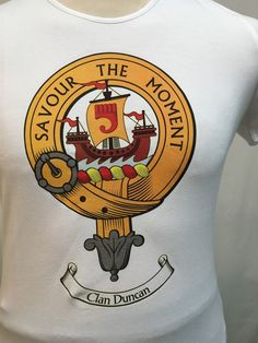 Large lady fit cotton t shirt with Duncan clan crest. Clearance item