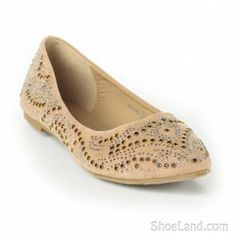 Leeverage Bejewelled Pointy Toe Ballet Flats by #ShoeLand. Pair with a shorts or wear with your favorite skinny jeans.