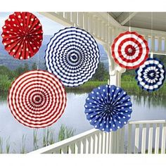 accordion-folded long wide strips, with the ends glued together to form a disk...could have smaller disks on top too, or add other centers or embellishments Paper Fan Decorations, Paper Fans, Fourth Of July, Holiday, Creative, Desserts, The 4, Ideas, Cake Pops