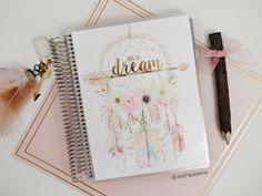 """Happy Planner COVER / Erin Condren COVER: Watercolor Dreamcatcher/Feathers/Arrows/Florals Gold Foiled """"Dare To Dream"""", 10-mil Laminated by JeePapeterieShop on Etsy https://www.etsy.com/listing/256983975/happy-planner-cover-erin-condren-cover"""