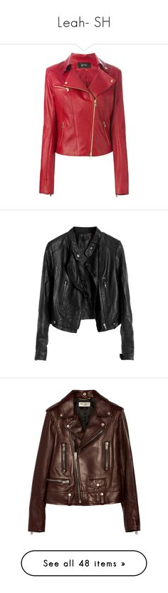 """""""Leah- SH"""" by inestrindade on Polyvore featuring outerwear, jackets, coats, leather jackets, red, jitrois, leather biker jacket, genuine leather biker jacket, motorcycle jacket and tops"""