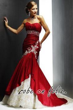 "Elégante robe de soiree longue rouge en taffetas ""MERRY RUBY""."
