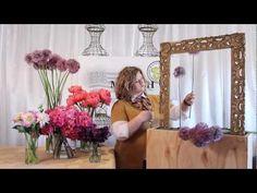 The Art of Flowers July 2012 - Mandy creates an artistic framed floral art installation using giant allium, California grown hydrangea, Coral Charm peonies, dahlias, and deep purple sweet peas.