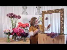 The Art of Flowers July 2012 - Mandy creates an artistic framed floral art installation using giant allium, California grown hydrangea, Coral Charm peonies, dahlias, and deep purple sweet peas.