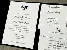 Palm Tree Wedding Invitation - black and white formal wedding. Invitation enclosed in pocket folder.  www.hobartandhaven.com