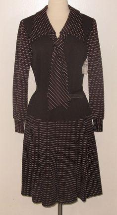 "c.1960s Sz. 10 Pleated Brown & White Print Ascot Dress w/ Belt - 40"" Length #Unbranded"