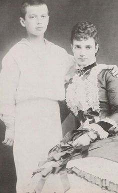 Marie Feodorovna (Dagmar of Denmark) Tsarin of Russia, spouse of Tsar Alexander III and their son, later Nicholas II - 1881