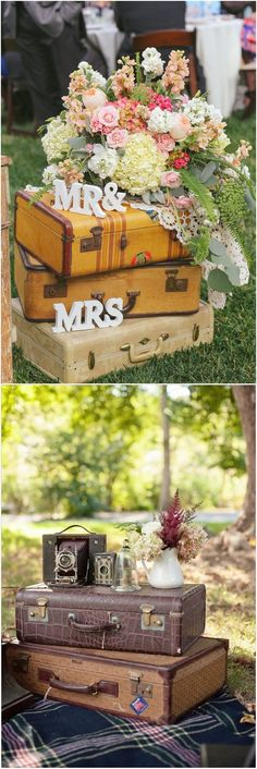 Vintage Travel Insipired Barn Suitcase Wedding Decor Idea Today I'm sharing ideas to rock vintage suitcases at your wedding, and I'm sure they won't leave you indifferent. Vintage suitcases are a must at a travel Vintage Suitcase Wedding, Vintage Suitcases, Vintage Travel, Decoupage Suitcase, Suitcase Decor, Bedroom Storage Boxes, Fall Wedding Arches, Themed Wedding Cakes, Wedding Decorations