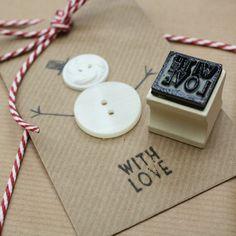 Christmas cards tinker diy gift wrap button snowman