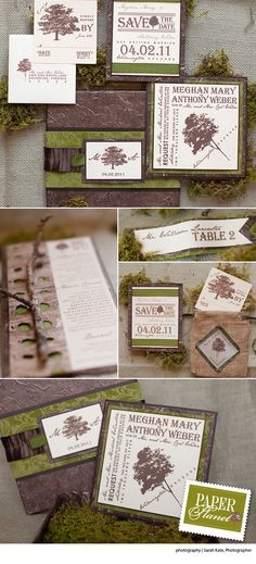 Go eco-chic with this tree motif invitation suite from Paper Planet!  Photo by Sarah Kate Photographer  #wedding #invitations #tree #green