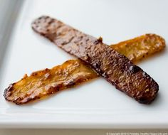 VEGAN BACON!  Tried it, LOVED it.  Smokey-spicy-sweet.  Made from tempeh in 5 minutes and so healthy.