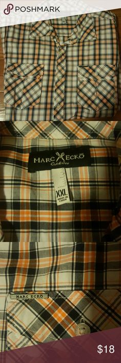 Men's Marc Ecko-NWOT Bought this for my fiance' but unfortunately he never wore. It's short sleeves & has 2 front pockets,lots of details on this shirt..SHARP LOOKING SHIRT 😉 If you have any questions please comment below as I usually respond within 24hrs or less.  * FAST SHIPPING * Thanks for looking & feel free to stop by my closet anytime 😉 HAPPY POSHING 🌻🌻🌻 Marc Ecko Shirts